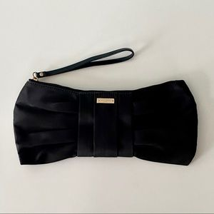 Kate Spade Classic Black Satin Bow Clutch